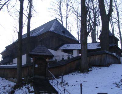Drevený artikulárny kostol v obci Leštiny